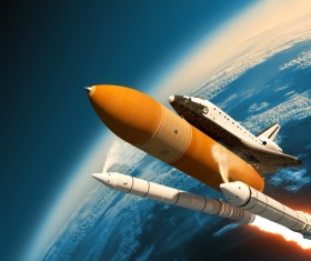 A rocket carrying a space shuttle HD picture