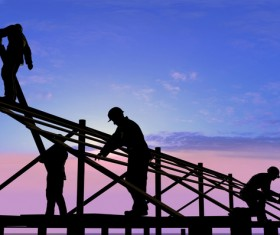 A worker on a roof Stock Photo