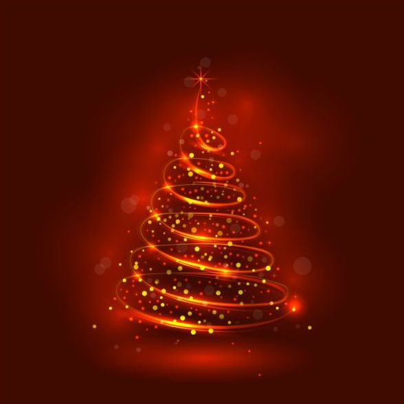 abstract christmas tree with red shiny background vector free download