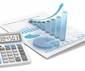 Abstract financial document and calculator Stock Photo