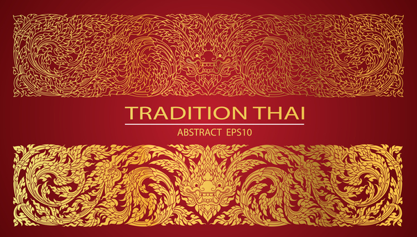 Abstract line thai tradition pattern vector - Vector
