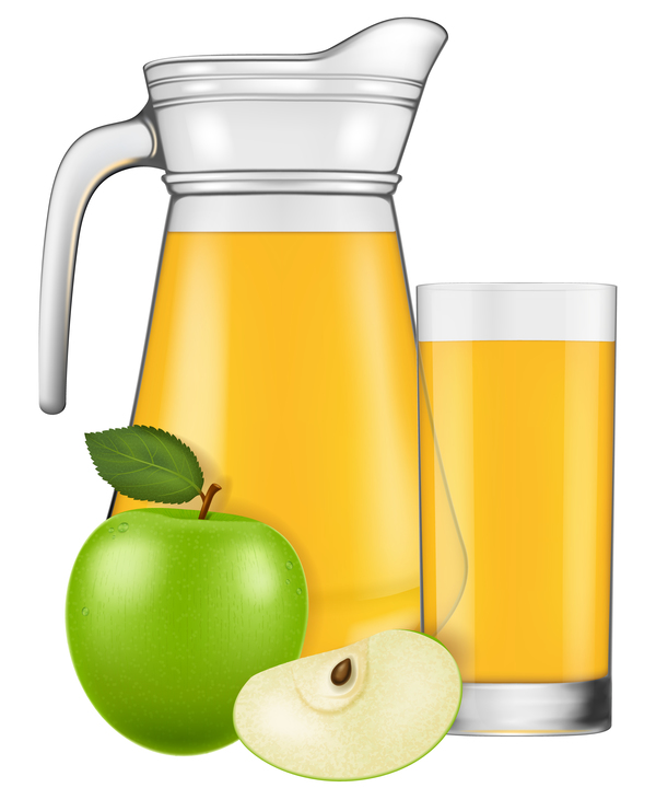 Apple Juice With Glass Cup Vectors 01 Vector Food Free