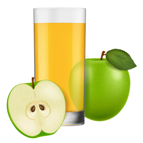 apple juice with glass cup vectors 02 free download