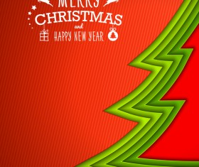 Applique christmas tree with greeting cards vector 01