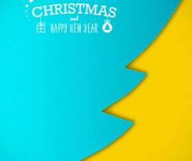 Applique christmas tree with greeting cards vector 03