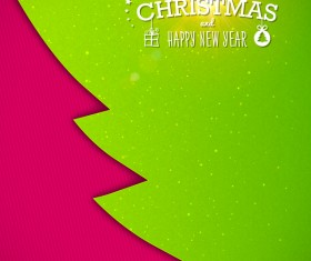 Applique christmas tree with greeting cards vector 04