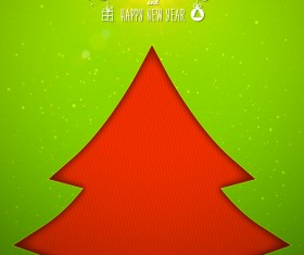 Applique christmas tree with greeting cards vector 06