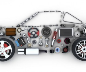 Auto parts combined car Stock Photo