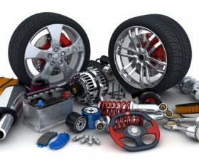 Automotive parts and tires Stock Photo 01