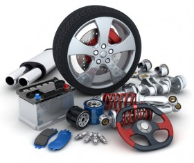 Automotive parts and tires Stock Photo 02