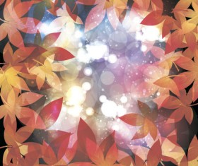 Autumn leaves with bokeh shiny background vector 01