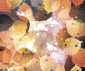 Autumn leaves with bokeh shiny background vector 02