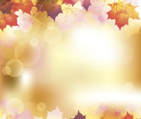 Autumn leaves with bokeh shiny background vector 05