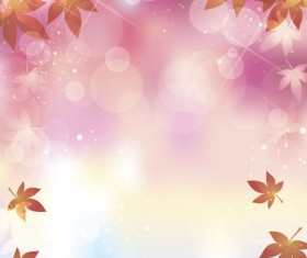 Autumn leaves with bokeh shiny background vector 06