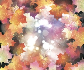 Autumn leaves with bokeh shiny background vector 07