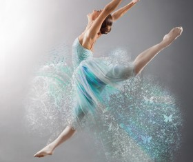 Beautiful ballet jumping dancers HD picture