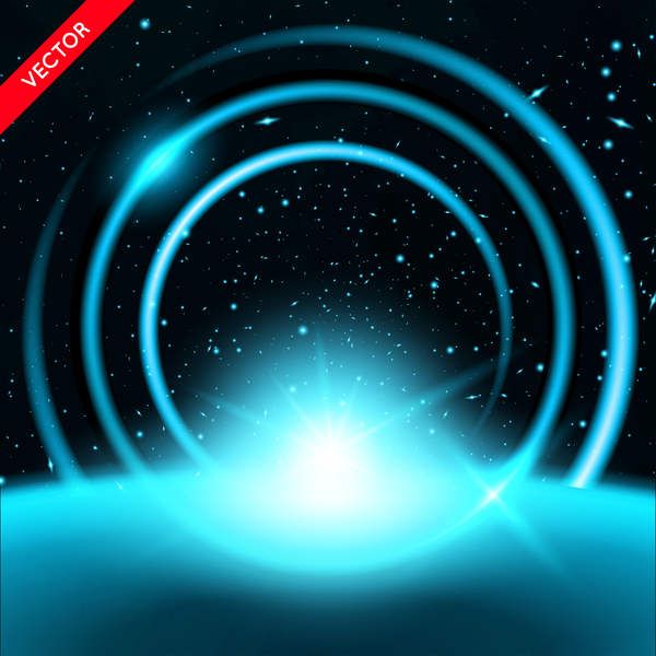 Beautiful space circles background vectors 03