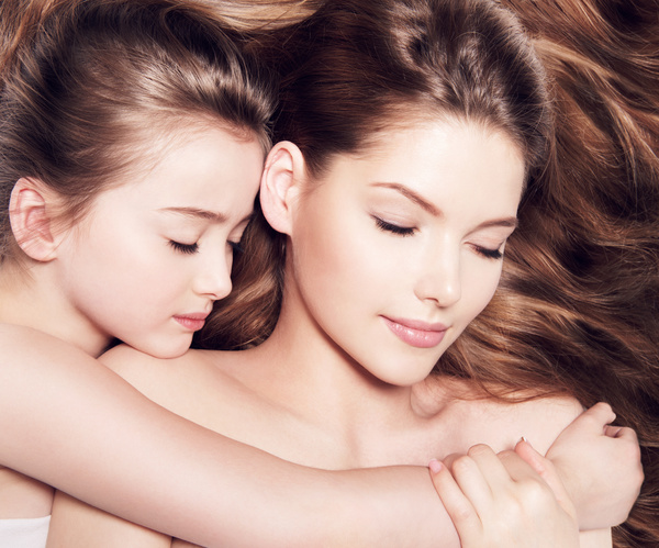 Beautiful young mother with A small daughter Stock Photo