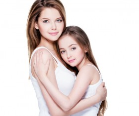 Beautiful young mother with her daughter's self-timer Stock Photo 04