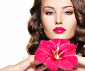 Beautiful young woman with a flower HD picture 01