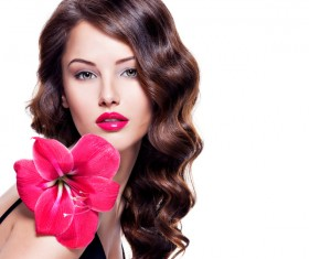 Beautiful young woman with a flower HD picture 02
