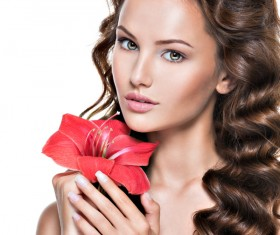 Beautiful young woman with a flower HD picture 04