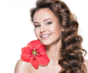Beautiful young woman with a flower HD picture 05