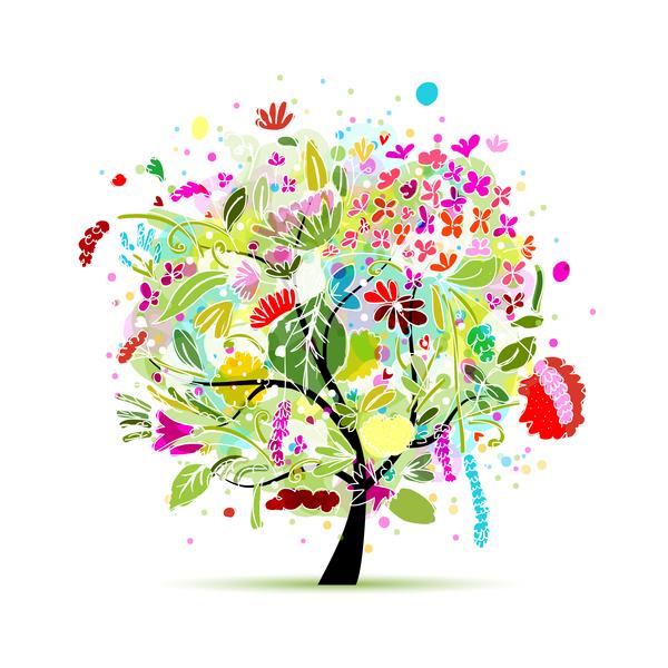 Beautifule floral tree vector material 01