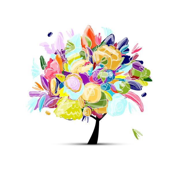 Beautifule floral tree vector material 03