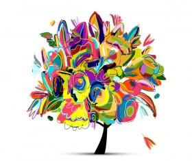 Beautifule floral tree vector material 04