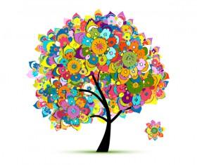 Beautifule floral tree vector material 06