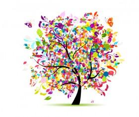 Beautifule floral tree vector material 07