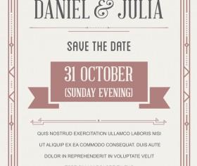 Beige wedding invitation card template vector