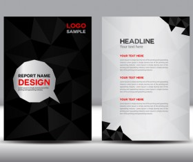 Black cover annual report template vector