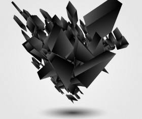 Black explosion debris abstract vectors 02