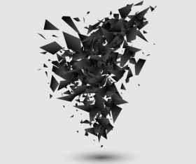Black explosion debris abstract vectors 04