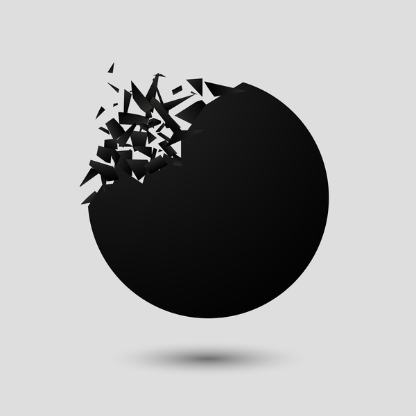 Black explosion debris abstract vectors 05