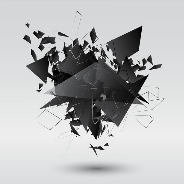 Black explosion debris abstract vectors 07