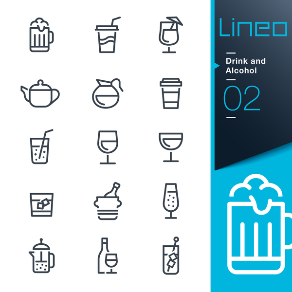Black lines drink and alcohol icons 01