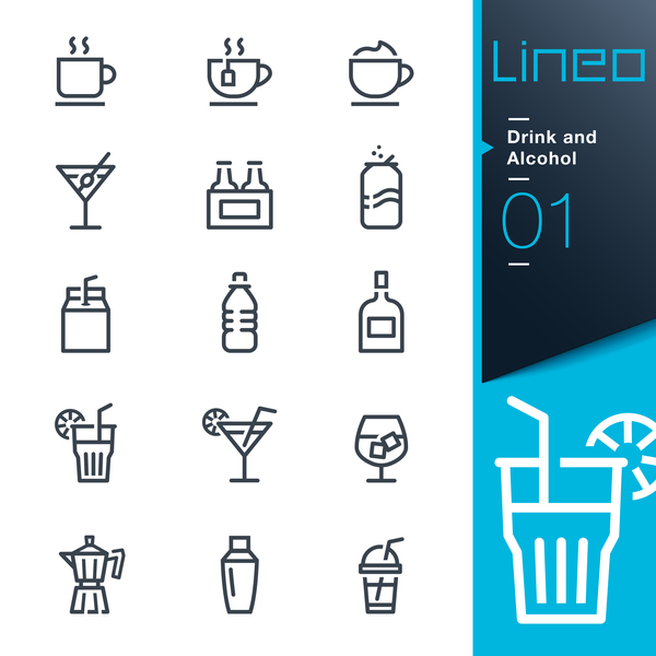 Drink and alcohol lines icons 02