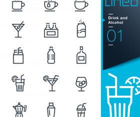 Black lines drink and alcohol icons 02