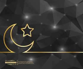 Black polygon background with golden moon and star vector