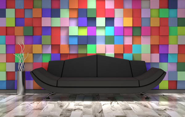 Black Sofa With Colorful Wall Background HD Picture