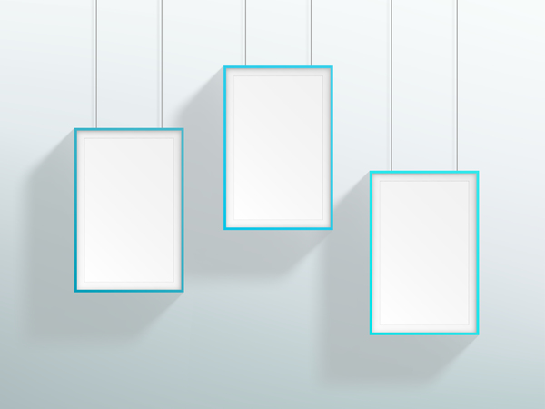 blank blue realistic hanging frames design vector free download