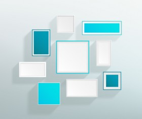 Blank blue white realistic frames on the wall vector