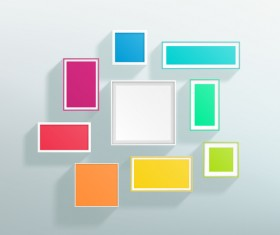 Blank colored realistic frames on the wall vector 01