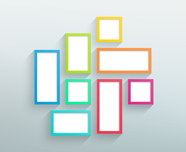 Blank colored realistic frames on the wall vector 02