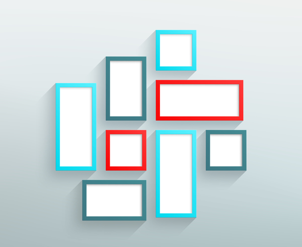 Blank colored realistic frames on the wall vector 03