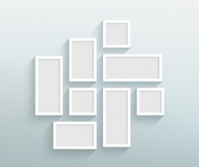 Blank white frames on the wall vector