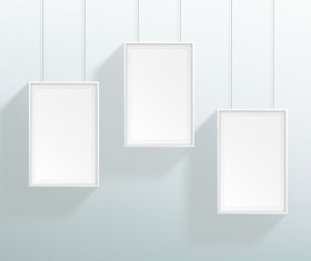 Blank white realistic hanging frames design vector